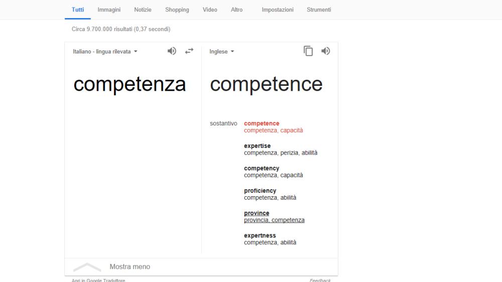 traduzione competenza